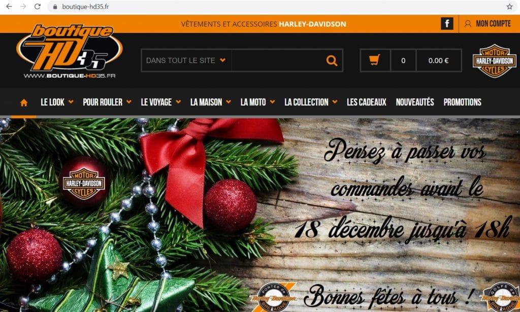 Page d'accueil du site Boutique HD-35