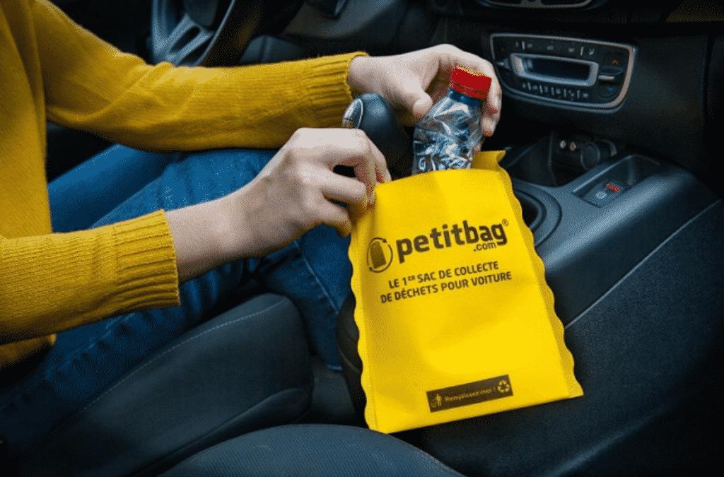 petitbag ® premier sac poubelle de voiture réutilisable, lavable à 30°C, recyclable et personnalisable